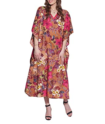 e7e36ed214 Comfortable Airy Free Size Tunic Casual Cotton Kaftan Night Wear Indian  Dress For Women Printed  Amazon.in  Clothing   Accessories