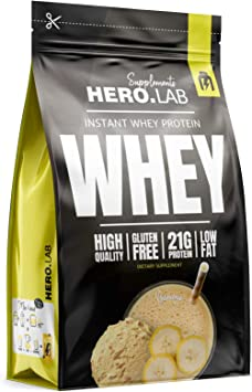 Hero.Lab Instant Whey Protein Paquete de 1 x 750g - Concentrado de Proteína de Suero - Sin Gluten - Bajo en Grasas (Banana)