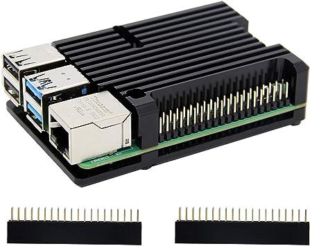Carcasa de disipador térmico Raspberry Pi 4 con ventilador Dual, carcasa de aleación de aluminio Raspberry Pi 4B ...