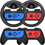 Grip for Nintendo Switch Controller - 4 Pack Racing Steering Wheel Switch Controller Game Grip Handle Kit Fit for Nintendo Switch Joy-Con Controllers (Black)