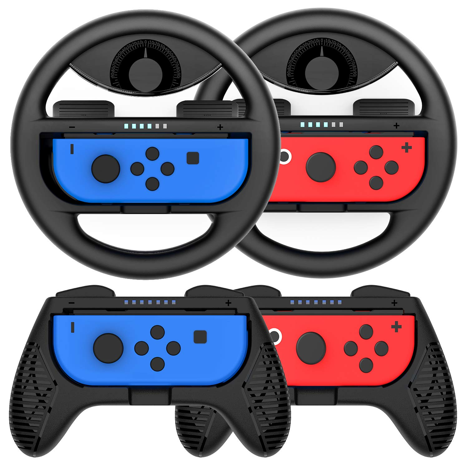 Momen Grip for Nintendo Switch Controller - 4 Pack Racing Steering Wheel Switch Controller Game Grip Handle Kit Fit for Nintendo Switch Joy-Con Controllers (Black) by momen