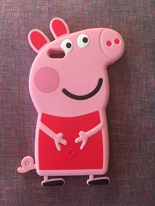 3D Cartoon Animal Peppa Pig Case Soft Silicone Rubber Phone Case for iPhone 5 5S SE Back Cover Skin Cover (for iPhone 5 5s SE)