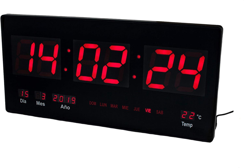 JEVX Reloj Digital de Pared - Grande para Colgar Luz Color Azul Calendario Termometro Medidor de Temperatura Fuente de Alimentacion