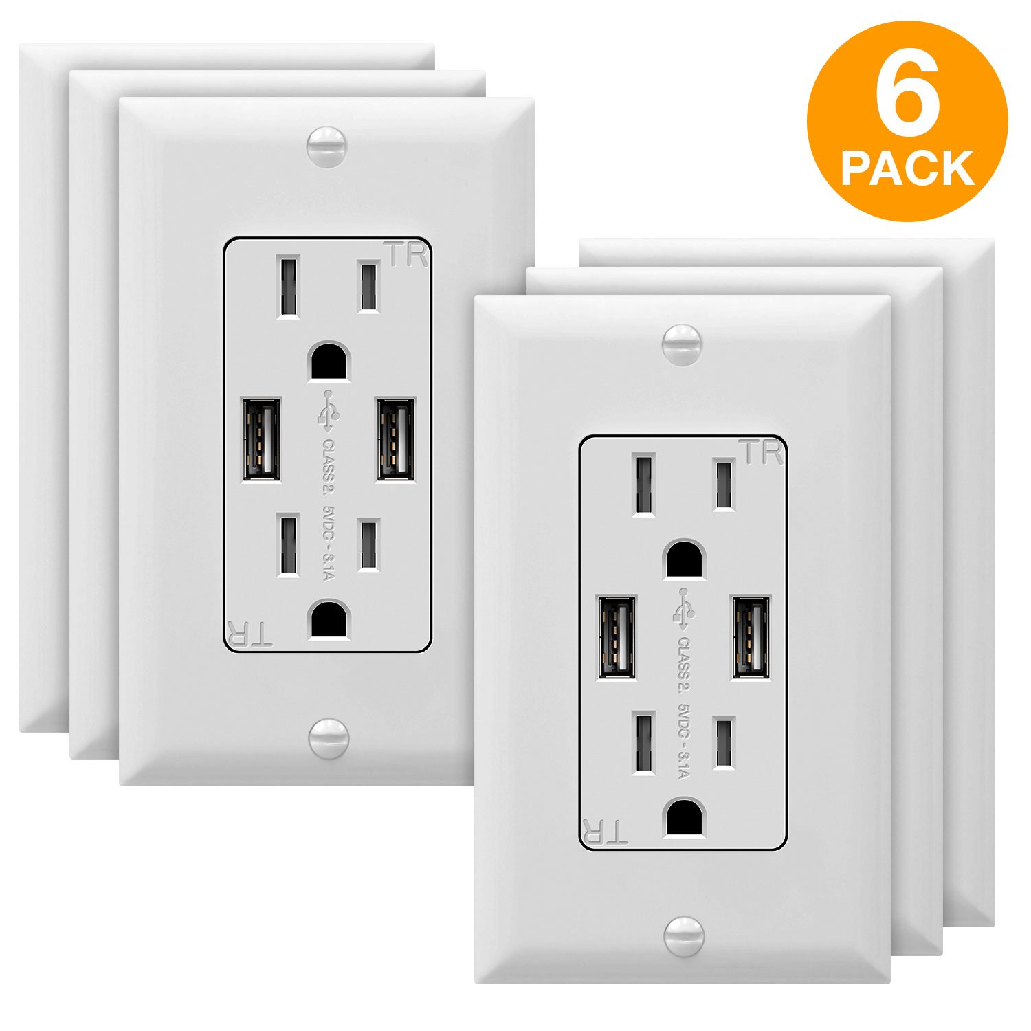 TOPGREENER TU2153A USB Outlets, 3.1A USB Outlet, USB Wall Outlet, USB Charger Outlet, Dual USB Charger with 15A Tamper Resistant Duplex Receptacle, 6-Pack, White
