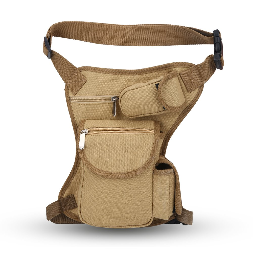 Tactical Drop Leg Bag, Canvas Utility Waist Fanny Pack Pouch Hip Thigh Bag for Outdoor Cycling Hiking Travel(Black) VGEBY