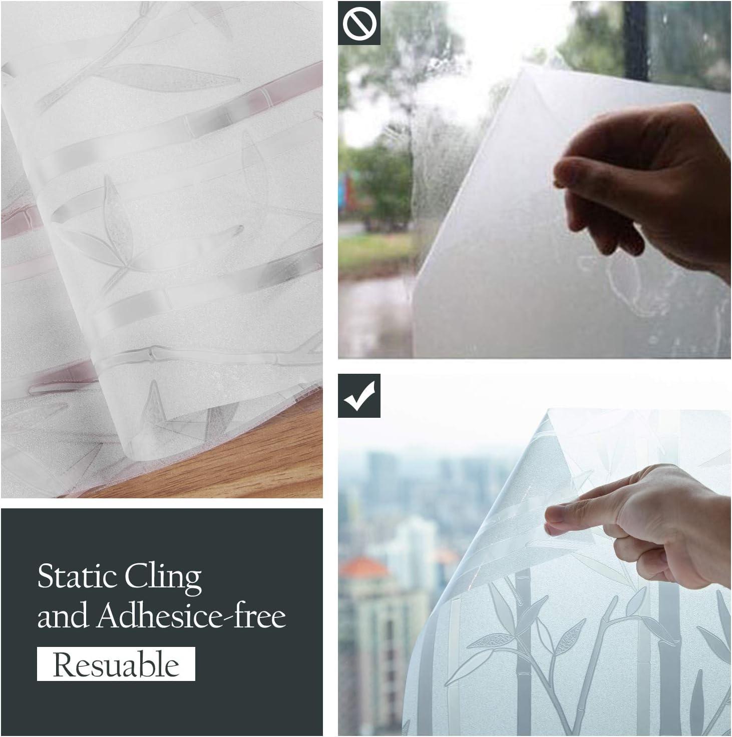 Bambus LINXIN Fensterfolie selbsthaftend Blickdicht 45 x 200 cm Fenster Milchglasfolie
