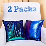 Wonder4 2 Pack Sequin Pillow Case 16x16 inches Reversible Cushion Cover Change Color Cotton Linen Couch Mermaid Throw Pillow Cover for Decoration (Green Blue & Black)