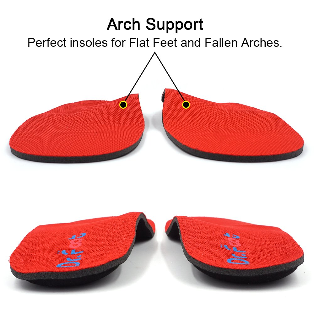 Dr. Foot\'s Orthotic Insoles, Memory Foam Shoe Inserts for Flat Feet, Plantar Fasciitis, Diabetic and Heel Pain, Pronation for Kids, Men and Women (Men\'s 10-10.5/Women\'s 12-12.5)