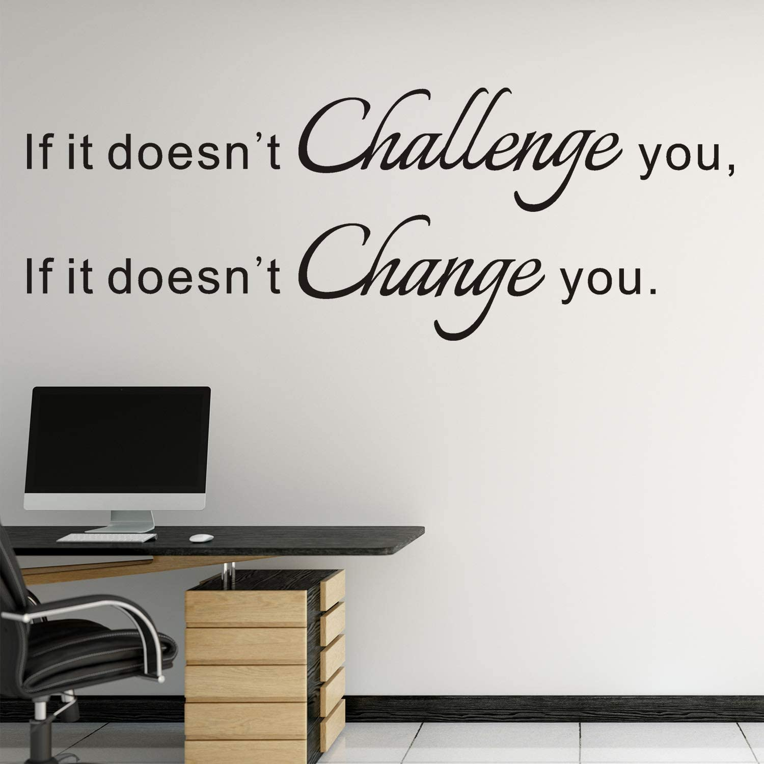 VODOE Quote Wall Decals, Office Wall Decal, Gym Inspirational Classroom Motivational School boy Fitness Dorm Home Art Decor Vinyl Stickers If it Doesn't Challenge You it Doesn't Change You 25.1