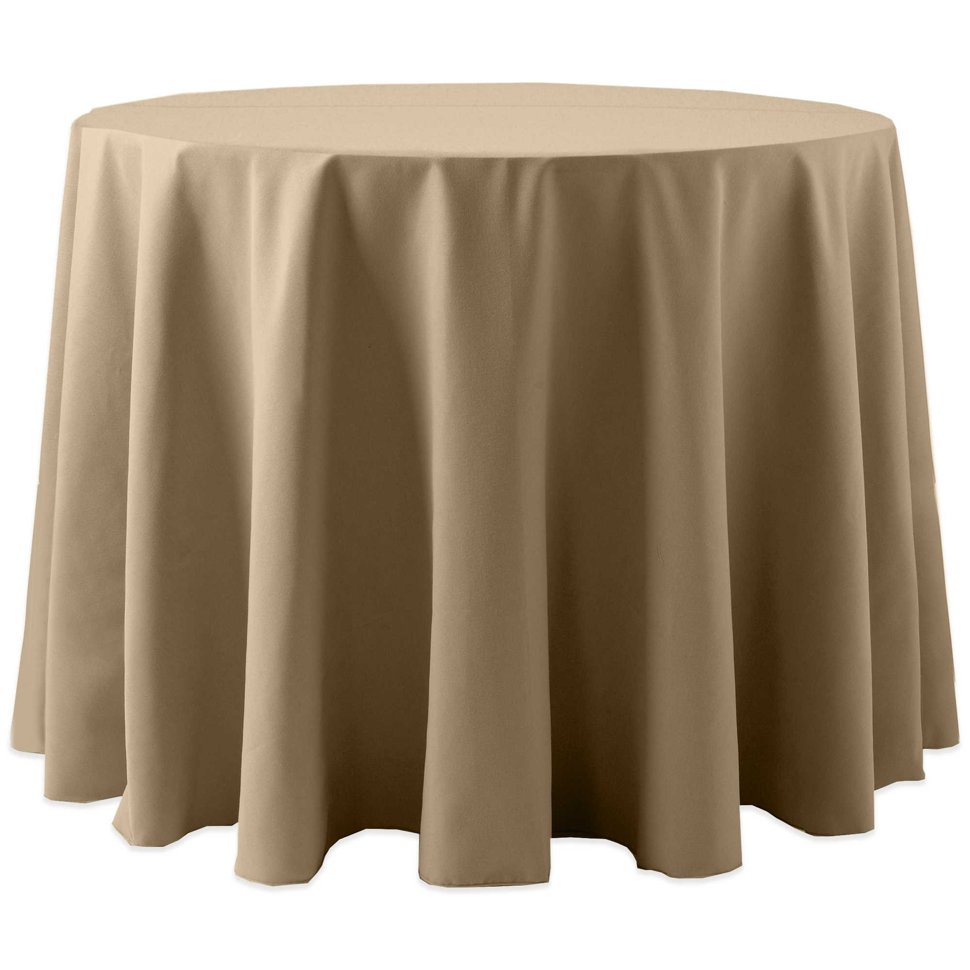 Ultimate Textile (10 Pack) Cotton-feel Spun Polyester 90-Inch Round Tablecloth - for Wedding and Banquet, Hotel or Home Fine Dining use, Toast Light Brown