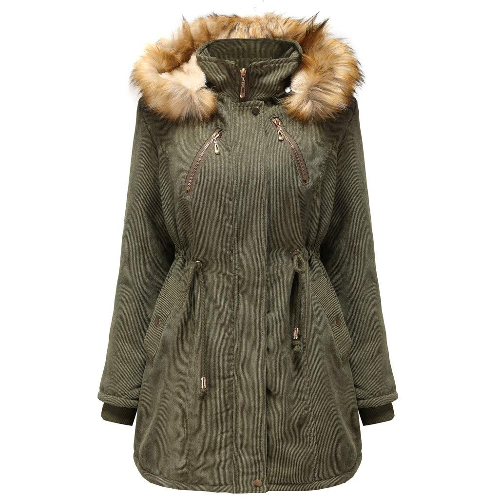Womens Winter Warm Cotton Hooded Coat Thickened Parka Jacket Mid Length Sherpa Lined Classic Fit Outerwear Army Green by SSYUNO-women tops