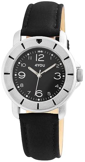4YOU - Reloj de Pulsera analógico para Mujer, Color Negro y Plateado, Mecanismo de Cuarzo, Metal y Piel, Moderno Reloj Unisex: Amazon.es: Relojes