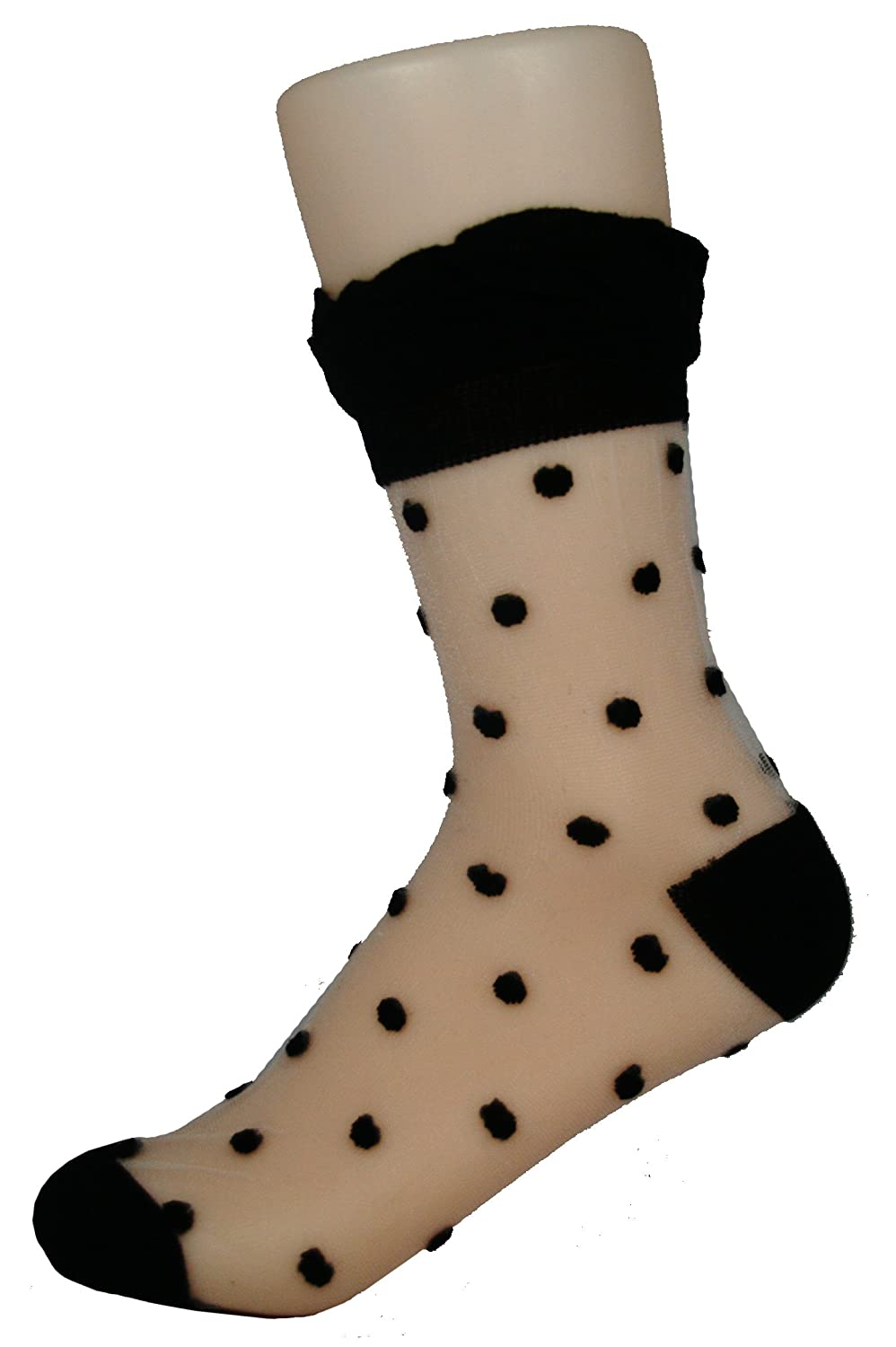 1950s Socks- Women's Bobby Socks AMU Lace-Black Dot Sheer Crew Sock with Stiched Pattern and Trim - Black Dots $9.60 AT vintagedancer.com