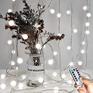 Minetom 33 FT 100 LED Globe Ball String Lights, Fairy String Lights Plug in with Remote, Decor for Indoor Outdoor Party Wedding Christmas Tree Garden Pure White