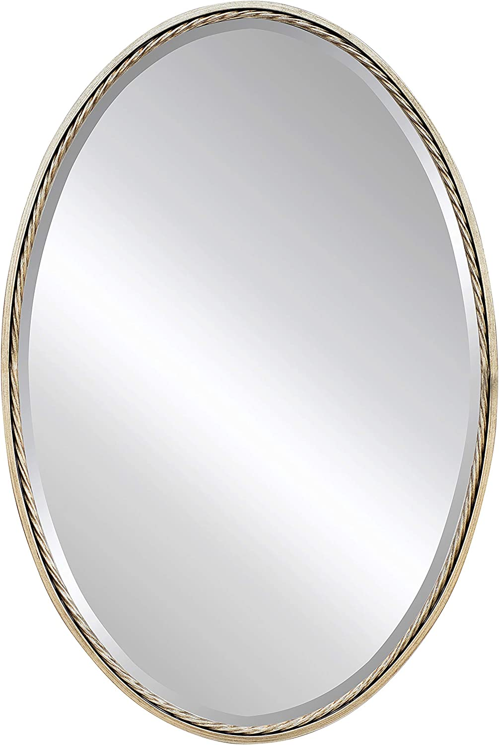 "Large Decorative Mirror for Wall - Oval Metal Framed Mirror with Bevel, Great for Living Room, Bedroom & Bathroom (Antique Silver, 24""x36"")"