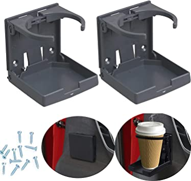 2PCS Adjustable Folding Drink Holder with Screws and Tapes White Folding Automotive Cup Holders for Car Truck Boat Van.