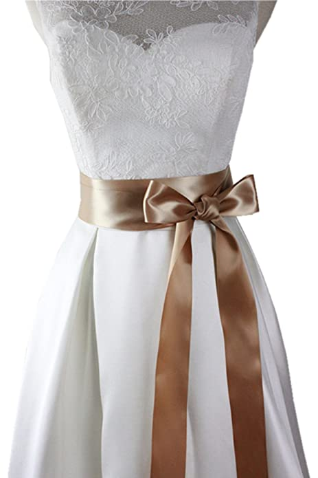 Fajines ribbon de sencillos en 19 colors diferente para vestidos de novia M01 (Champán oscuro
