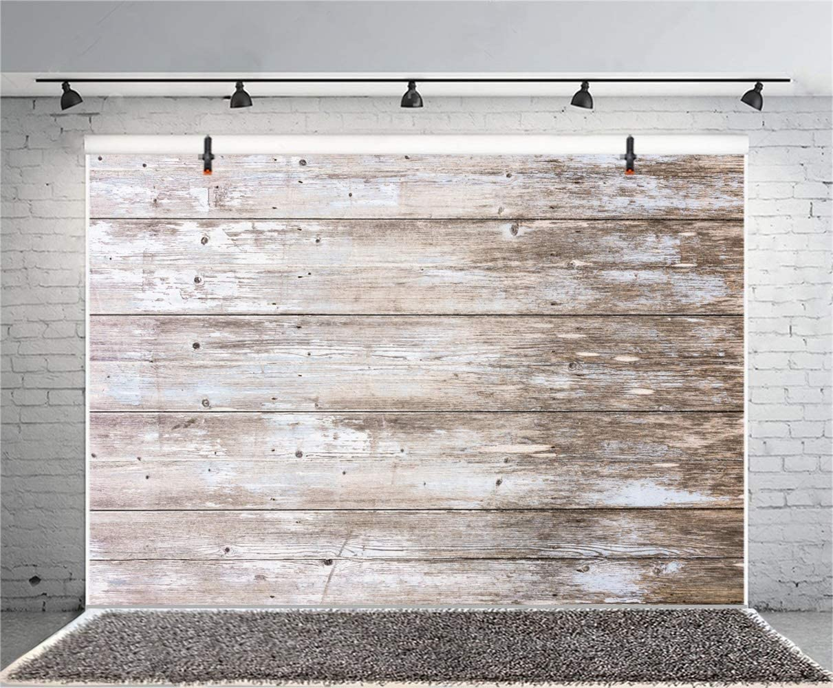 Polyester 10x6.5ft Grunge Faded Lateral-Cut Wood Plank Photography Background Rustic Wooden Board Backdrop Children Adult Pets Artistic Portrait Shoot Countryside Earthy