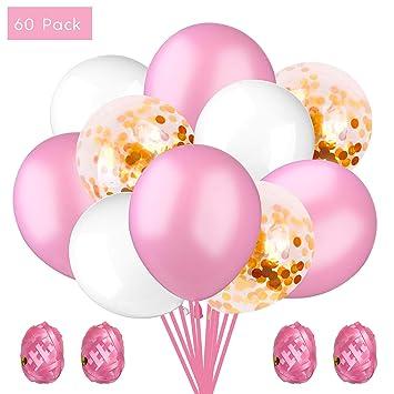 KATELUO 60 Piezas Rosa Globo de,Globos de cumpleaños,Globo de Lentejuelas Rosa Oscuro Globos de Fiesta de látex para Decoraciones de cumpleaños (Rosa, ...