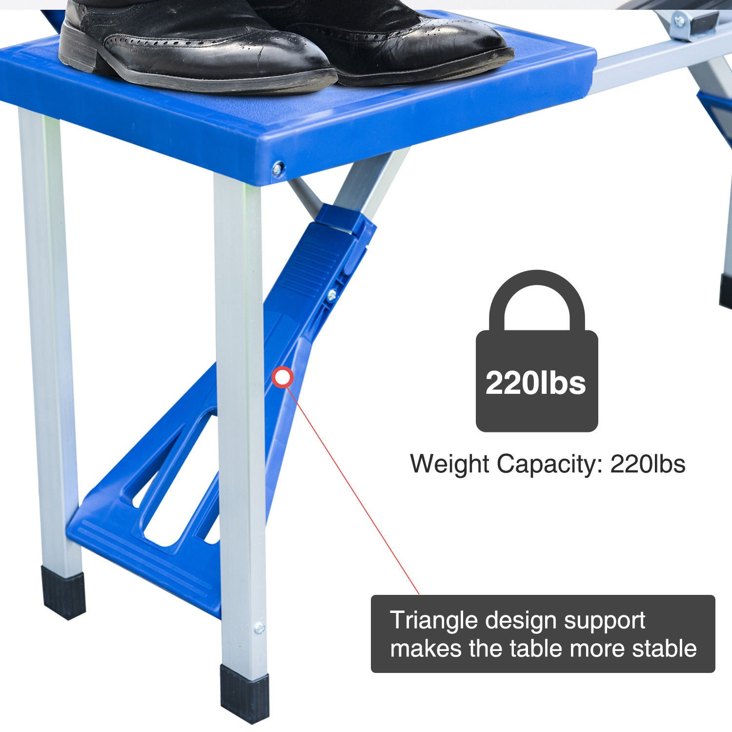 Ar Portable Folding Plastic Camping Picnic Table 4 Seats Outdoor Garden W/Case Blue by Ar (Image #4)