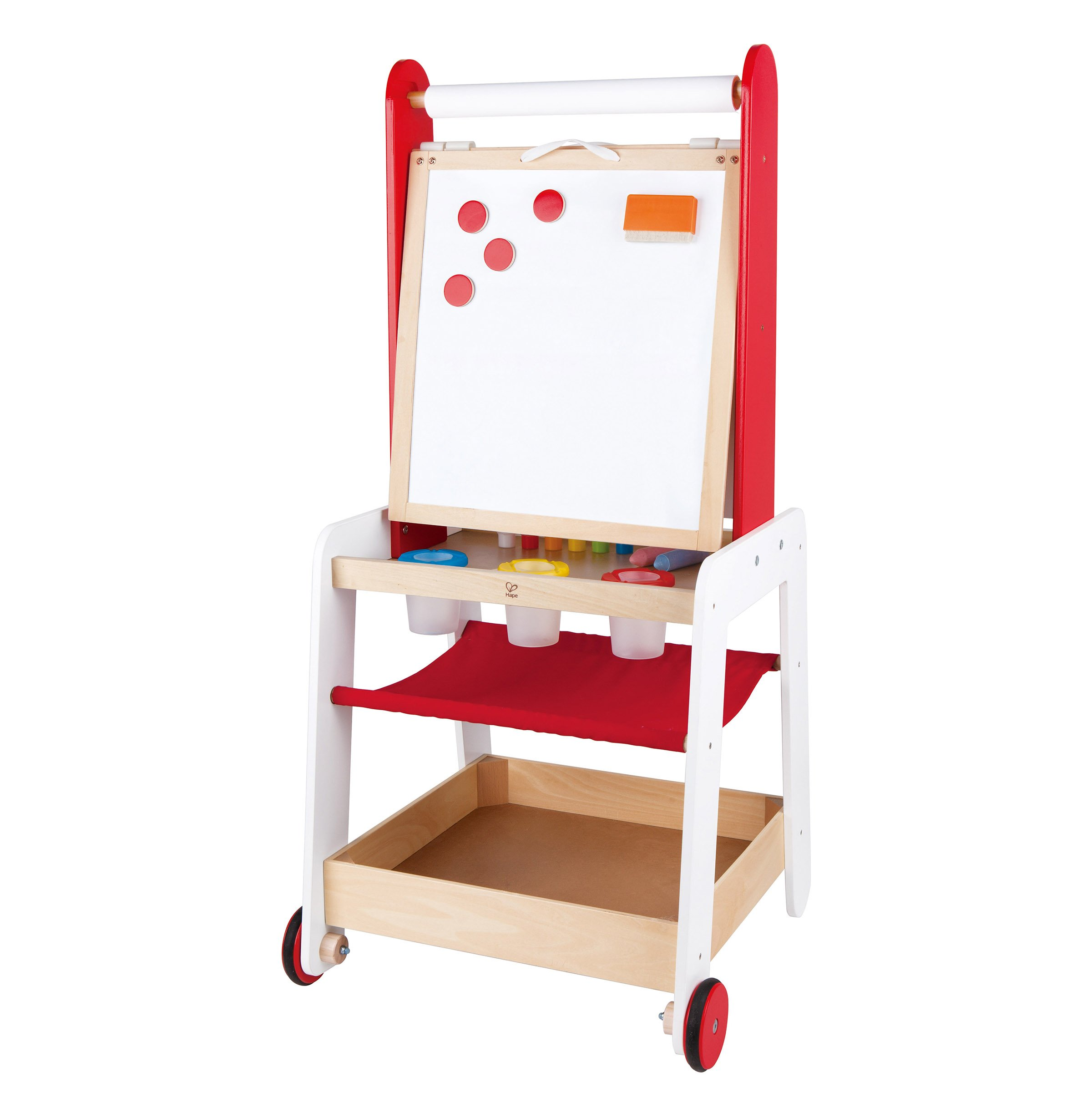 Hape Kids Create and Display Adjustable Wooden Art Easel with Storage