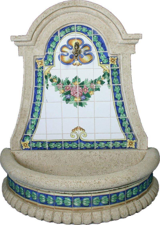 DEGARDEN Fuente Pared Azucena hormigón-Piedra y Azulejos Exterior jardín 110X50X117cm.: Amazon.es: Jardín