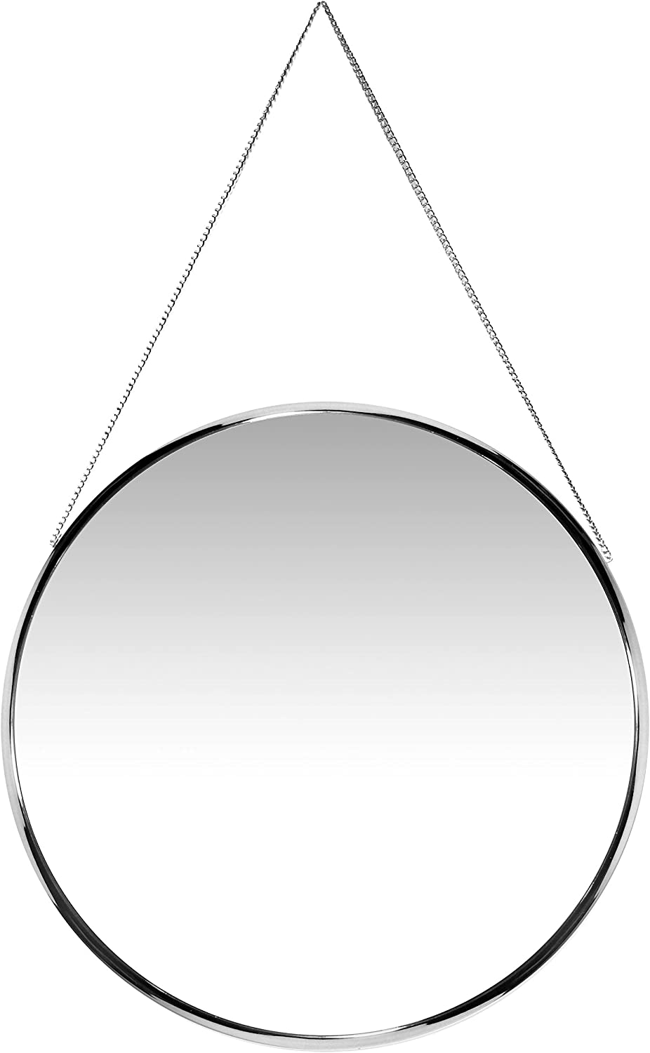 Infinity Instruments Circle Modern Chrome Round 18 inch Mirror with Hanging Chain, Silver