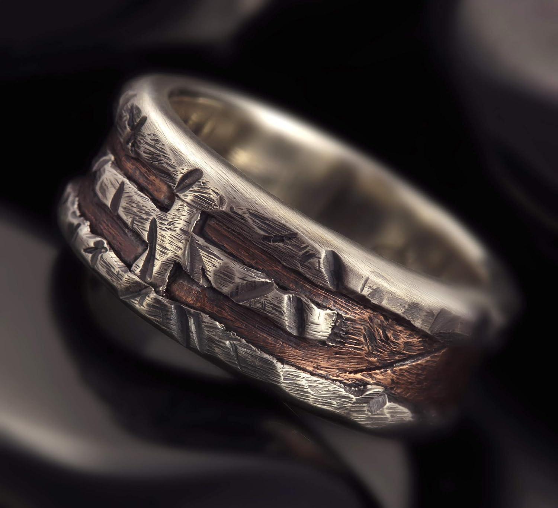 Amazon Com Rustic Mens Ring Unique Men S Ring Mens Wedding Band Unique Engagement Ring Mens Wedding Ring Gift For Men Rs 1163 Handmade