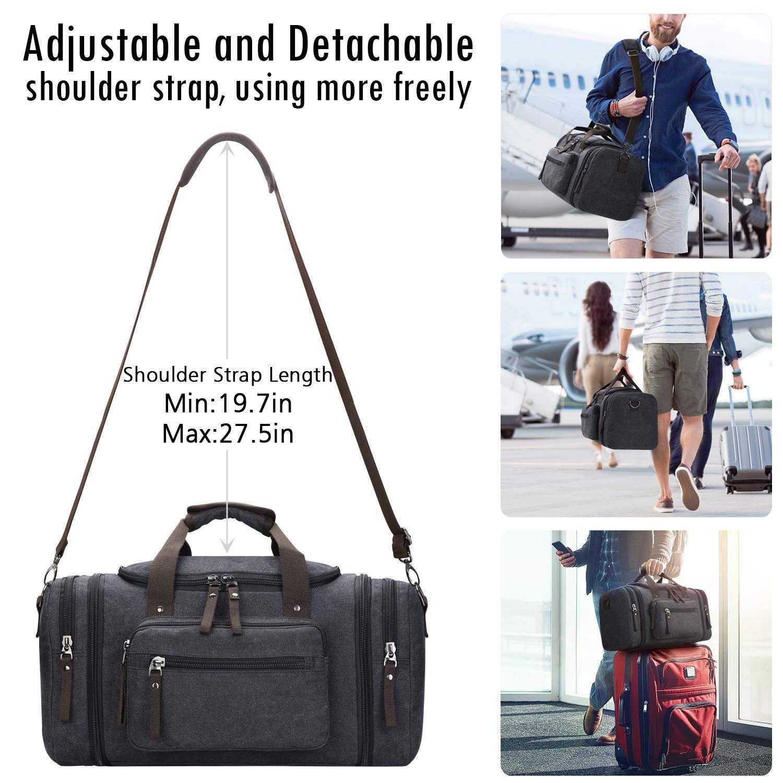 Grey-New Toupons Mens Duffle Bag Travel Duffel Bag Weekender Duffel Bag Overnight Bag Water-resistance