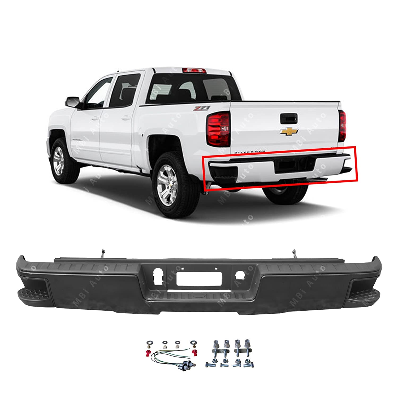 Mbi Auto Primered Steel Rear Bumper For 2014 2018 Chevy Silverado Gmc Sierra 1500 W Out Park 14 18 Gm1103177