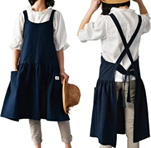 losofar Women Girls Vintage Cute Apron Gardening Works Cross Back Cotton/Linen Blend Aprons Plus Size Pinafore Dress with Two Pockets (darkblue, (32