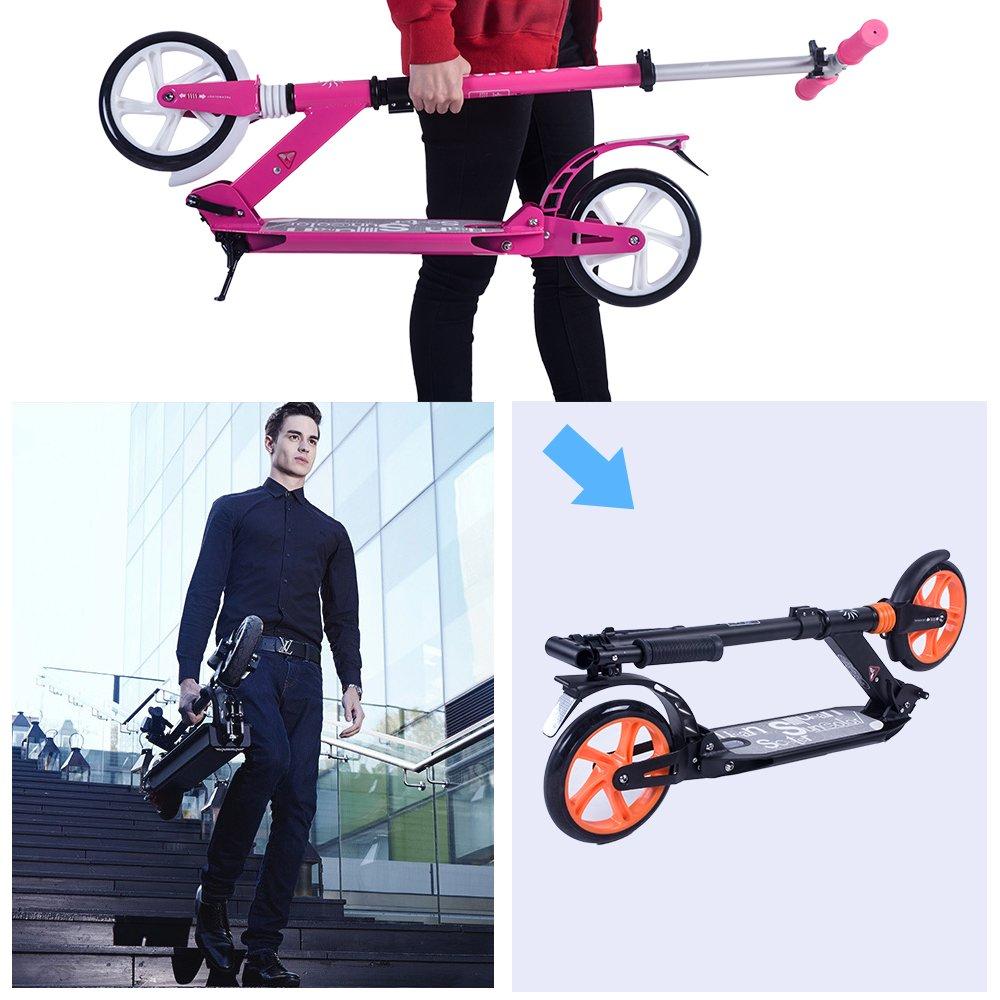 Patinete de ciudad para adulto, con suspensión, marco plegable, ruedas grandes de 200 mm de Rocket Bunny®