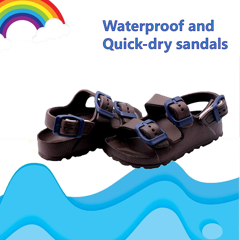 first steps Girls Waterproof Comfort Soft Slides Double Buckle Adjustable EVA Moulded Slip-on Flat Sandals