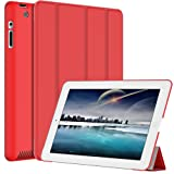 JETech® Gold Custodia Slim-Fit Folio Smart Cover con retro per Apple Nuovo iPad 4 & 3 (terza e quarta Generazione con Retina Display) / iPad 2 (Rosso)