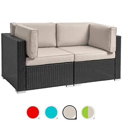 Walsunny 2pcs Patio Outdoor Furniture Sets,All-Weather Rattan Sectional Sofa with Washable Couch Cushions (Black Rattan) (Loveseats Khaki)