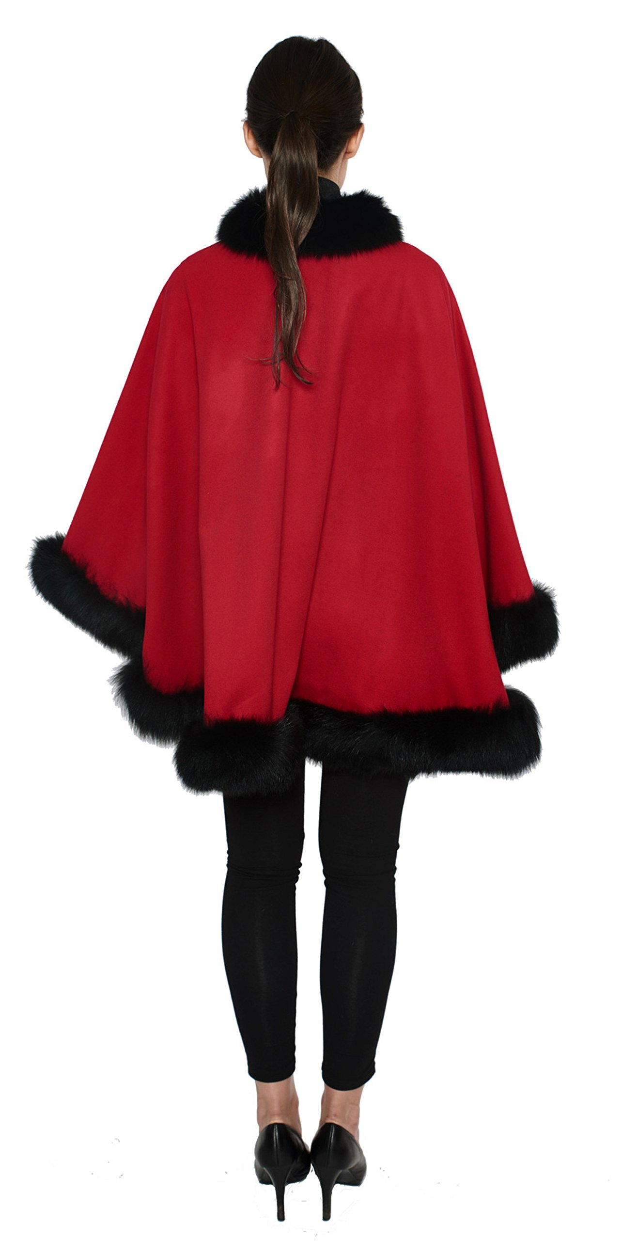 Cashmere Pashmina Group: Cashmere Cape with genuine Fox Fur Trim all around (Lipstick Red/ Black) by Cashmere Pashmina Group (Image #3)