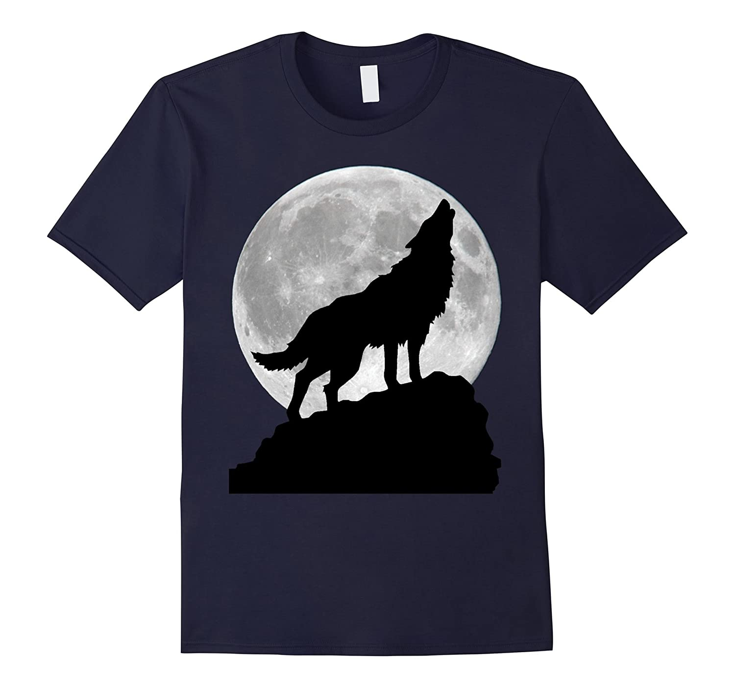 Wolf in moon light T Shirt - Cool full dog pup howling tee-FL