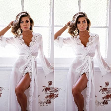 Yesmile 💋💝 Ropa de Interior de Bañera Sexy Lencería Sexy Mujeres Babydoll Ropa de Dormir Vestido de Encaje G-string Tanga Traje de Dormir Lenceria (Rosa ...