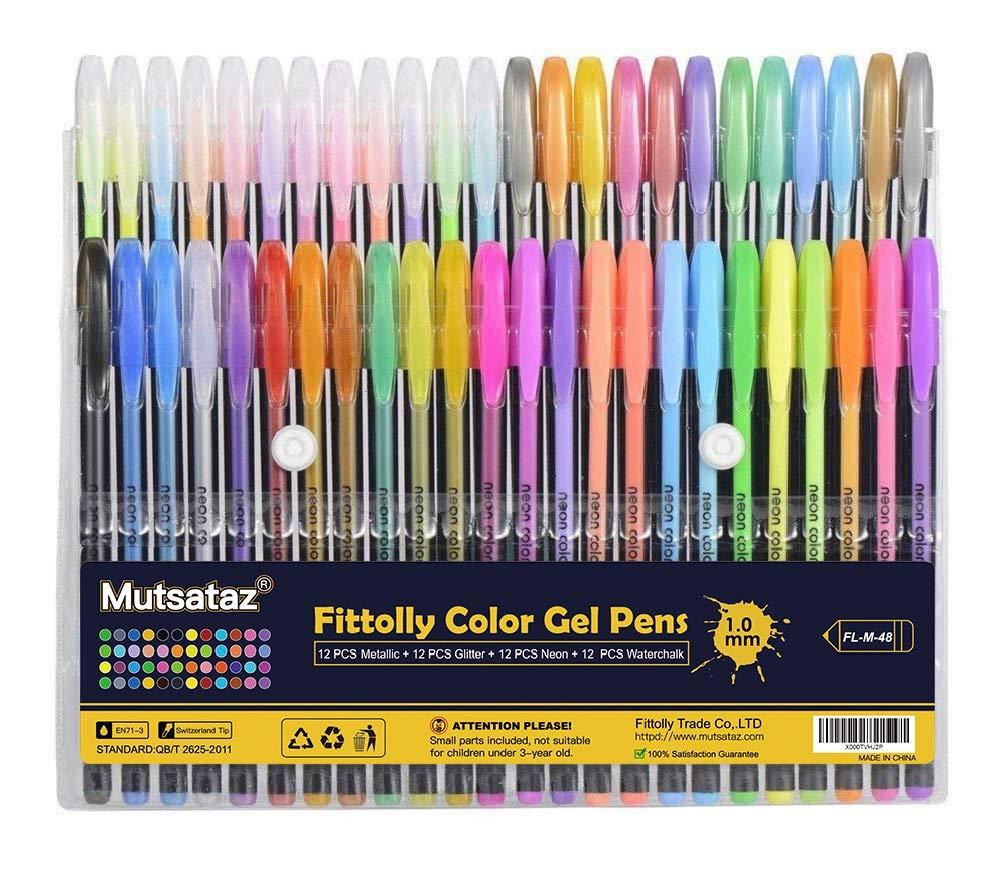 48 Colores Bolígrafos de Gel para colorear adultos - Incluye purpurina, metálico, neón y clásicos - Para scrapbooking, colorear, dibujar y artesanal ...