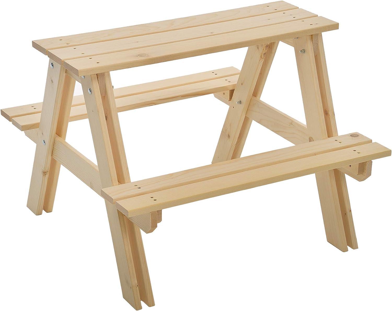 Assurance qualit/é : fabriqu/é en Autriche Assemblage facile Bois massif 80 x 80 x 48 x 48 cm GASPO Table et bancs de pique-nique pour enfants