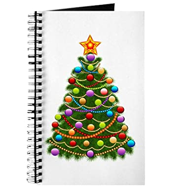 journal diary with elegant christmas tree and ornaments on cover