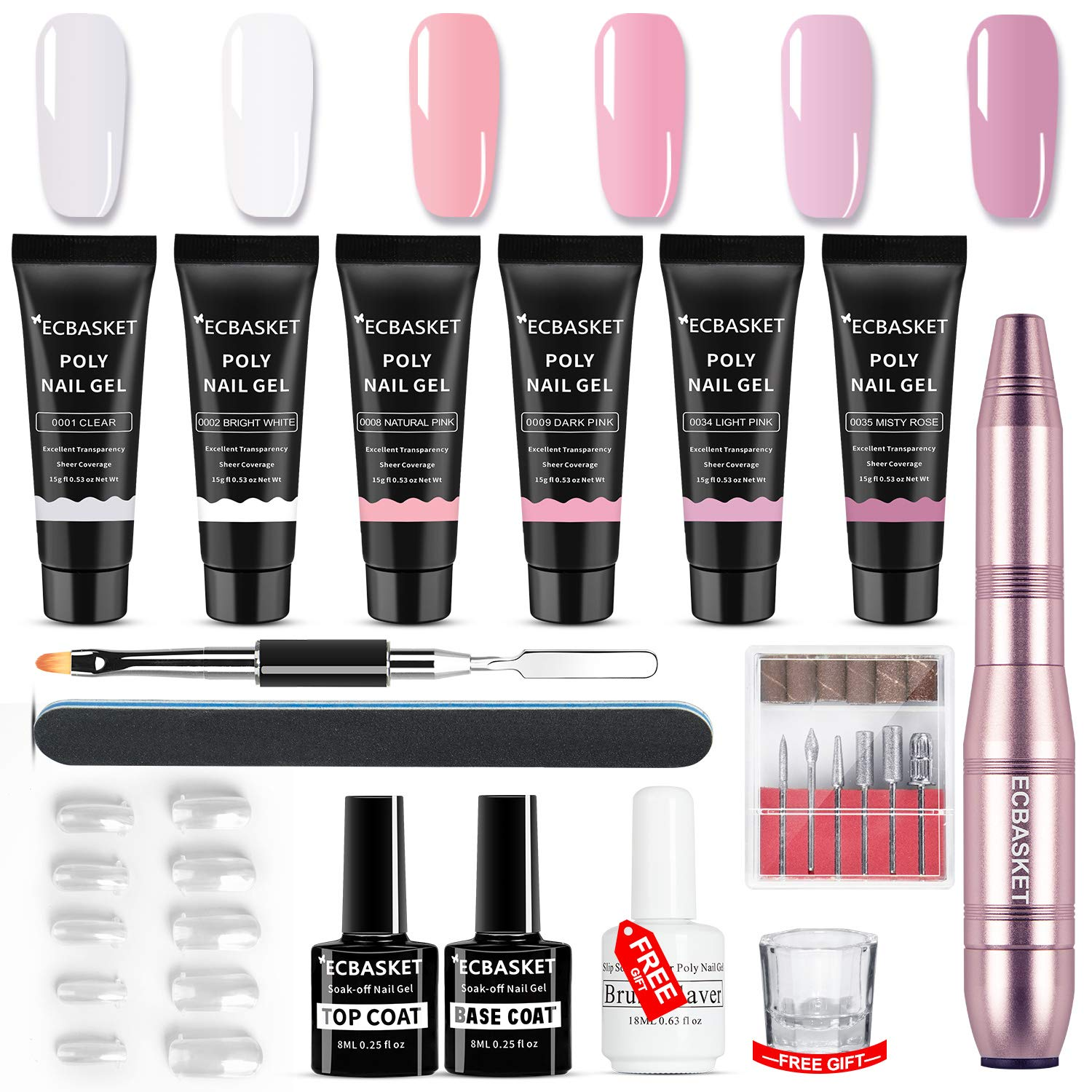 ECBASKET Poly Nail Gel Kit Nail Extension Gel Kit with Nail Drill Nail Enhancement Builder Gel Extension Gel Trial Kit with Slip Solution Professional Nail Technician All-in-One French Kit by ECBASKET