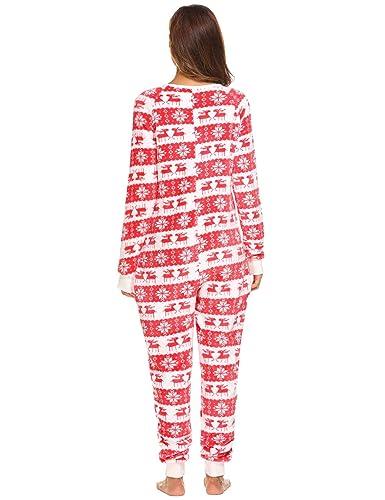 Caeasar Mujer de manga larga de lana Onesie pijama de Navidad Imprimir One Piece ropa de dormir: Amazon.es: Ropa y accesorios