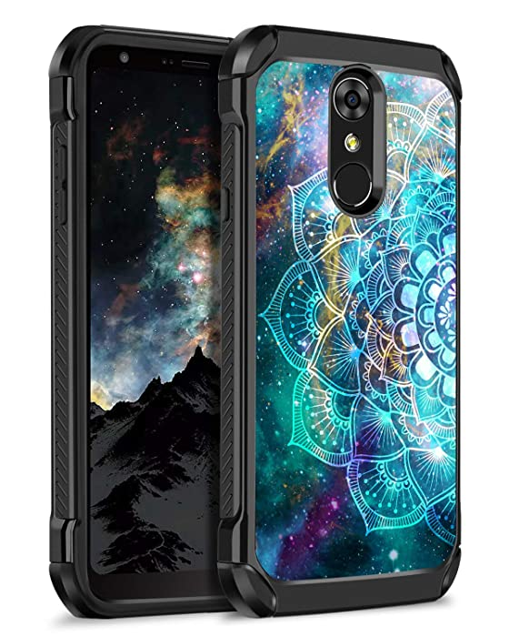 BENTOBEN LG Stylo 4 Phone Case, LG Stylo 4 Plus Case, LG Q Stylus Case, Hybrid Soft TPU Bumper Hard PC Shockproof Glow in The Dark Luminous Noctilucent Protective Case for LG Stylo 4,Mandala in Galaxy