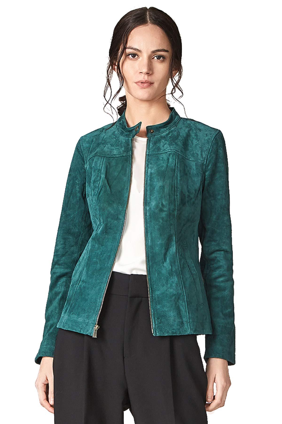 Escalier Women`s Genuine Leather Jacket Suede Moto Jackets Green M