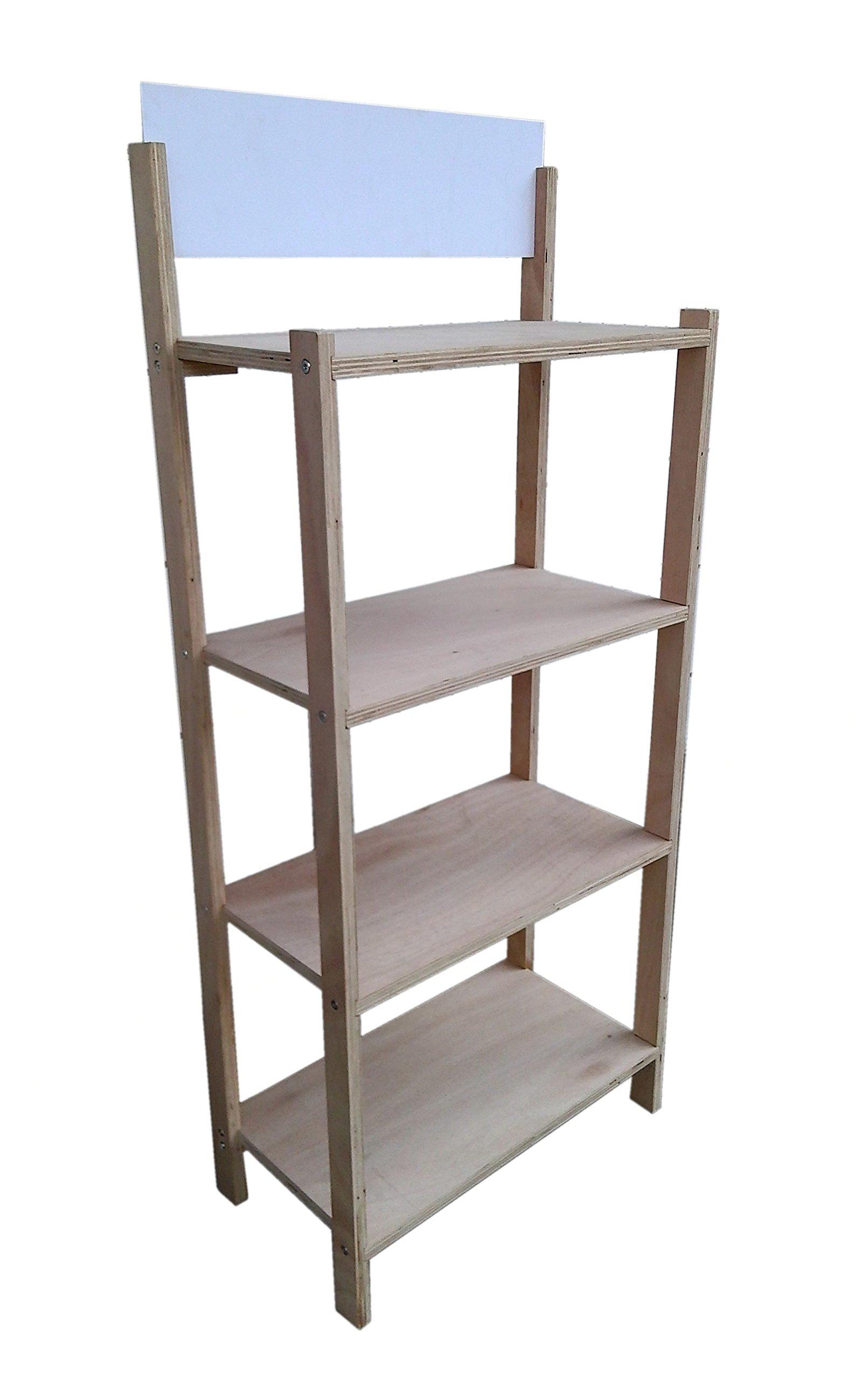 FixtureDisplays 4-Tier Foldable Wood Rack Display for Beverage Fruit Merchandise W/Sign Board 15904