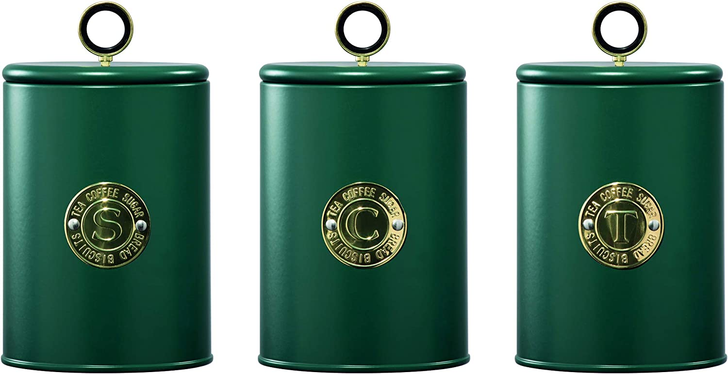 Daewoo Emerald Collection Coffee Sugar Tea Set of 3 Containers Kitchen Food Storage Jars Air Tight Steel Cannisters Green with Gold Motif 11.2cm Diameter x 17.5cm Height Per Tin