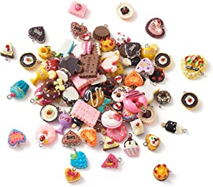 Craftdady 100Pcs Resin Dessert Sweet Pendants Random Mixed Lovely Cake Candy Donut Cookies Food Charms for Earring Bracelet Jewelry Making