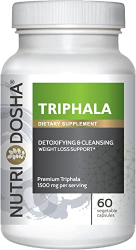 1 Pure Premium Triphala, 1500mg Serving, Potent Yet Gentle Super Antioxidant Colon Cleanser Detoxifier for Digestion Regularity. Ayurveda Blend, Vegan Friendly Capsules. Gold Std. Trifala Churna