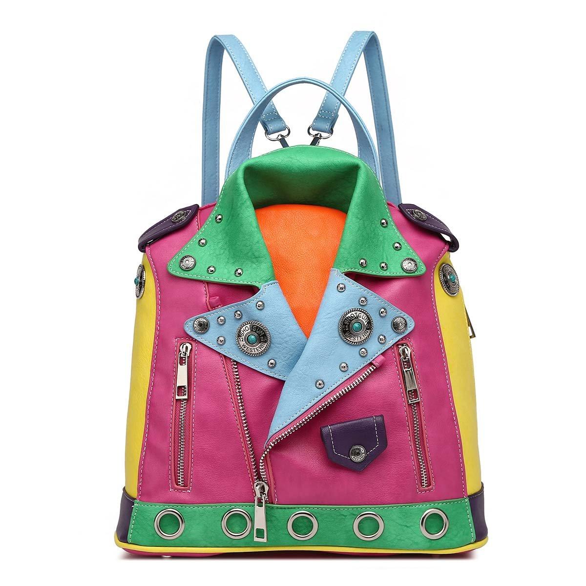Studded Multi Color Zipper Biker Backpack W/ Adjustable Shoulder Straps